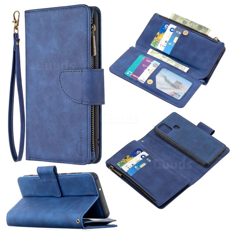 Binfen Color BF02 Sensory Buckle Zipper Multifunction Leather Phone Wallet for Samsung Galaxy A21s - Blue