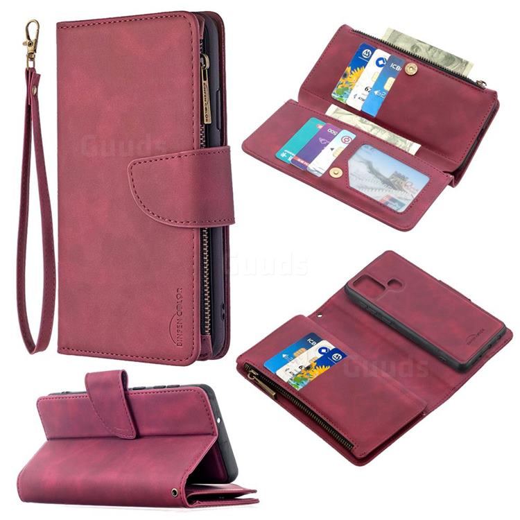 Binfen Color BF02 Sensory Buckle Zipper Multifunction Leather Phone Wallet for Samsung Galaxy A21s - Red Wine