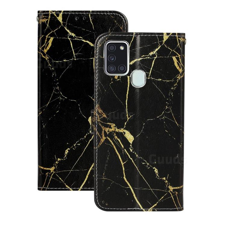 Black Gold Marble PU Leather Wallet Case for Samsung Galaxy A21s