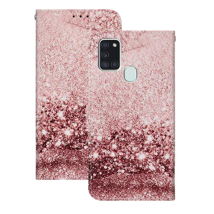 Glittering Rose Gold PU Leather Wallet Case for Samsung Galaxy A21s