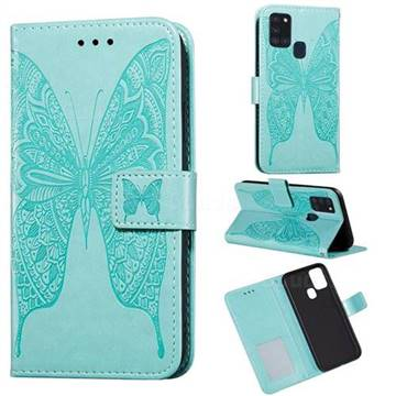 Intricate Embossing Vivid Butterfly Leather Wallet Case for Samsung Galaxy A21s - Green
