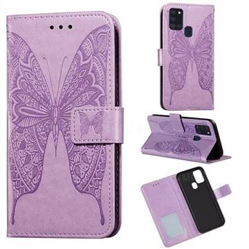 Intricate Embossing Vivid Butterfly Leather Wallet Case for Samsung Galaxy A21s - Purple