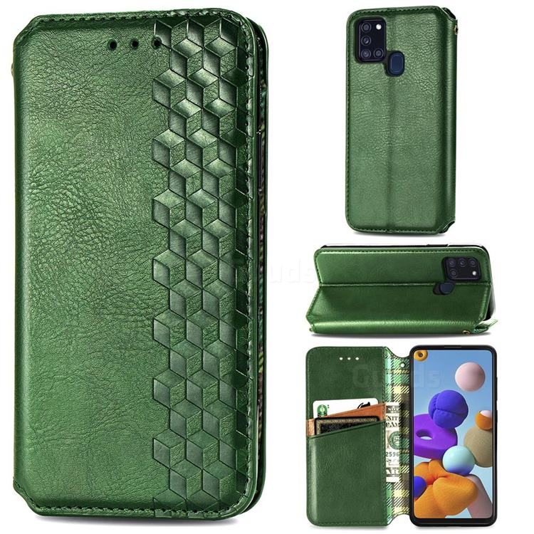 Ultra Slim Fashion Business Card Magnetic Automatic Suction Leather Flip Cover for Samsung Galaxy A21s - Green