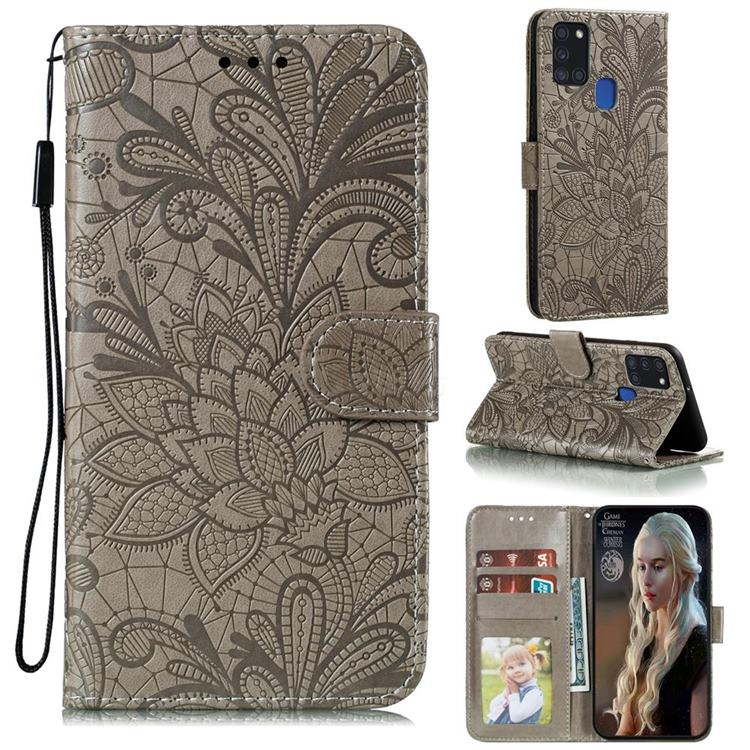 Intricate Embossing Lace Jasmine Flower Leather Wallet Case for Samsung Galaxy A21s - Gray