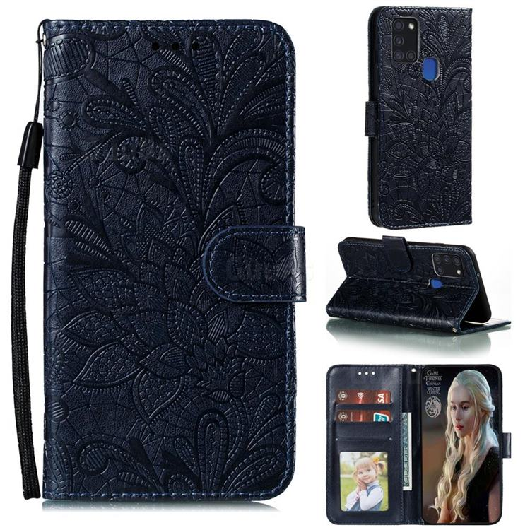 Intricate Embossing Lace Jasmine Flower Leather Wallet Case for Samsung Galaxy A21s - Dark Blue