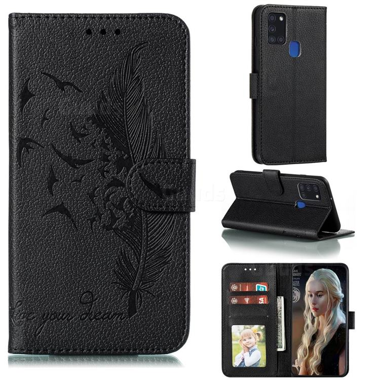Intricate Embossing Lychee Feather Bird Leather Wallet Case for Samsung Galaxy A21s - Black
