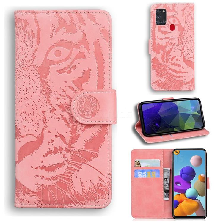 Intricate Embossing Tiger Face Leather Wallet Case for Samsung Galaxy A21s - Pink