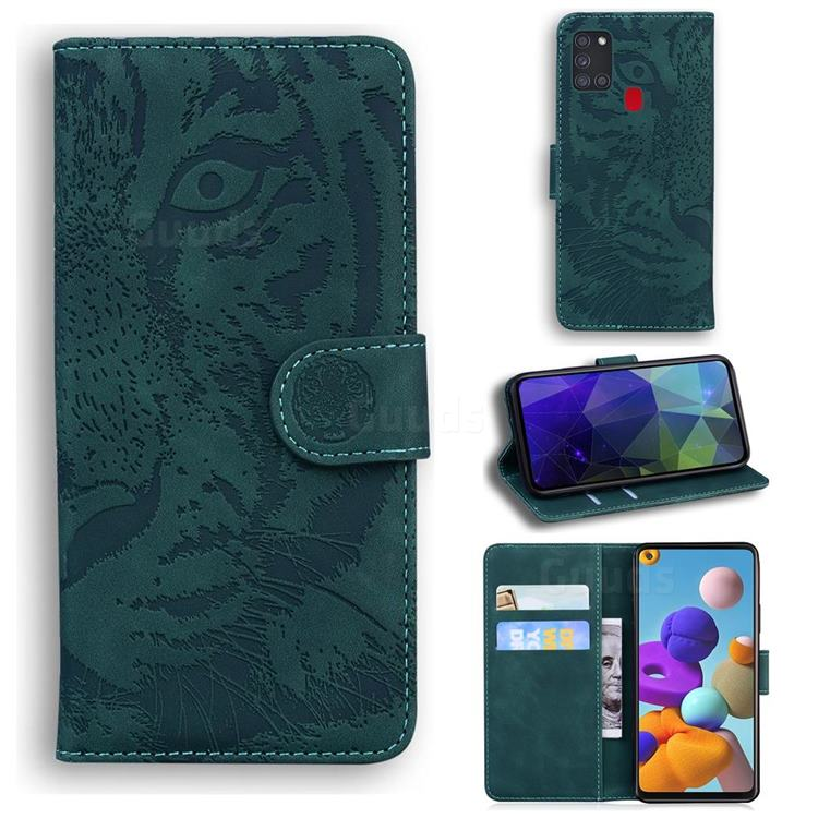 Intricate Embossing Tiger Face Leather Wallet Case for Samsung Galaxy A21s - Green