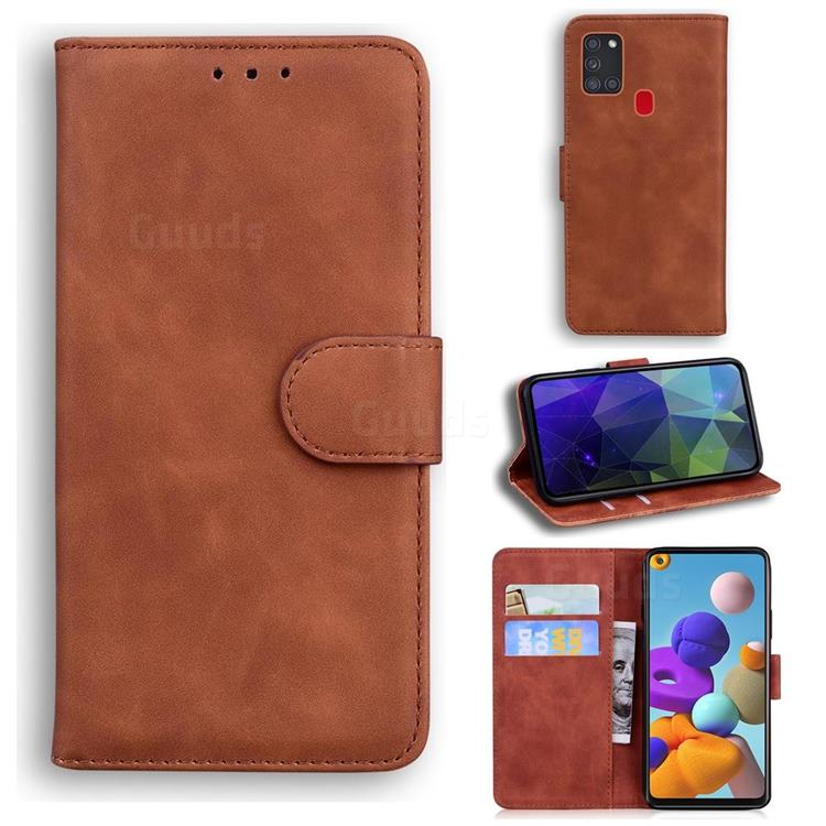 Retro Classic Skin Feel Leather Wallet Phone Case for Samsung Galaxy A21s - Brown