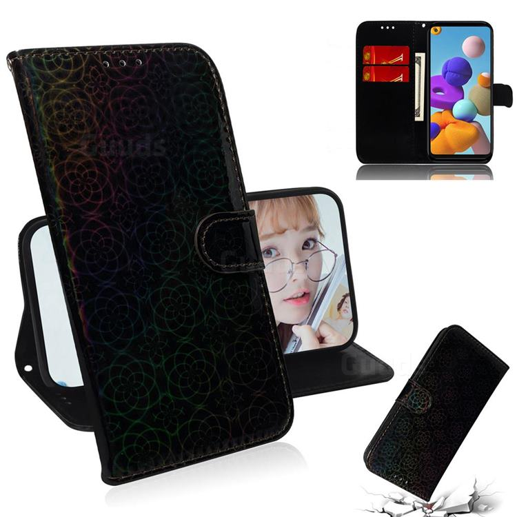 Laser Circle Shining Leather Wallet Phone Case for Samsung Galaxy A21s - Black