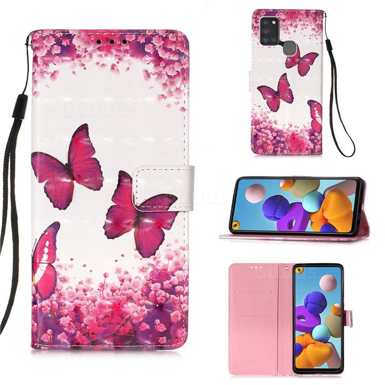 Rose Butterfly 3D Painted Leather Wallet Case for Samsung Galaxy A21s