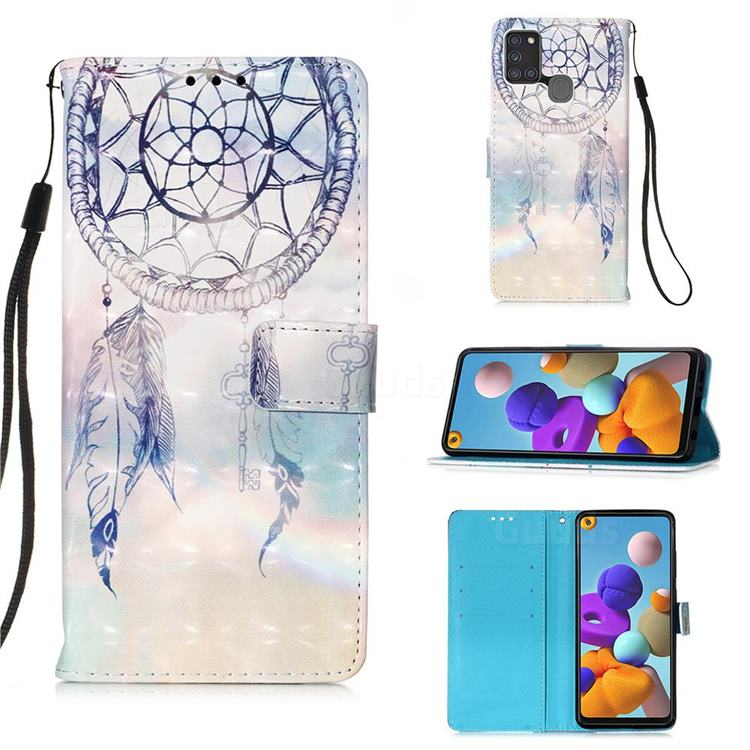 Fantasy Campanula 3D Painted Leather Wallet Case for Samsung Galaxy A21s