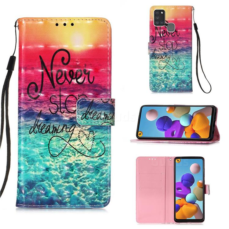 Colorful Dream Catcher 3D Painted Leather Wallet Case for Samsung Galaxy A21s
