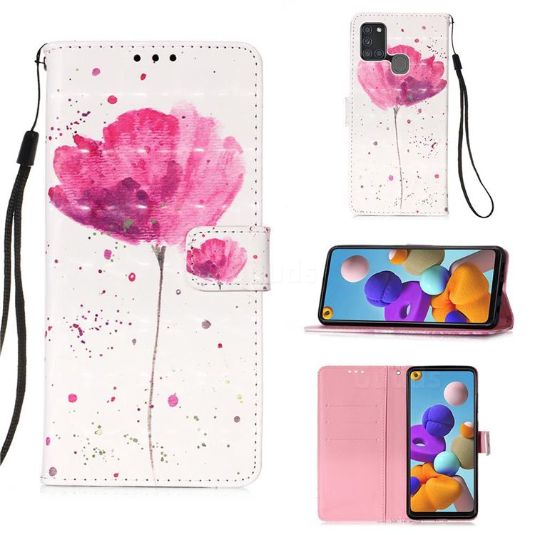 Watercolor 3D Painted Leather Wallet Case for Samsung Galaxy A21s