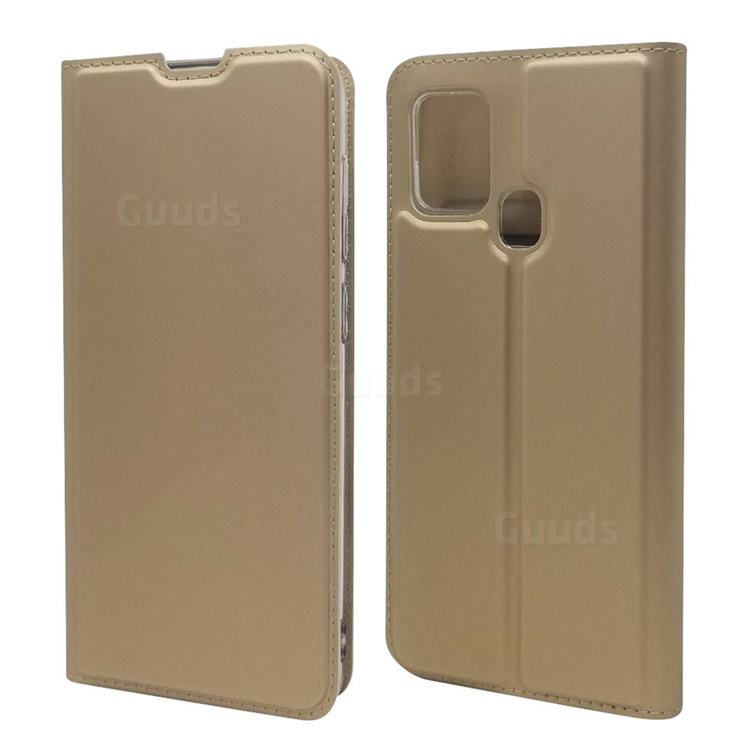 Ultra Slim Card Magnetic Automatic Suction Leather Wallet Case for Samsung Galaxy A21s - Champagne