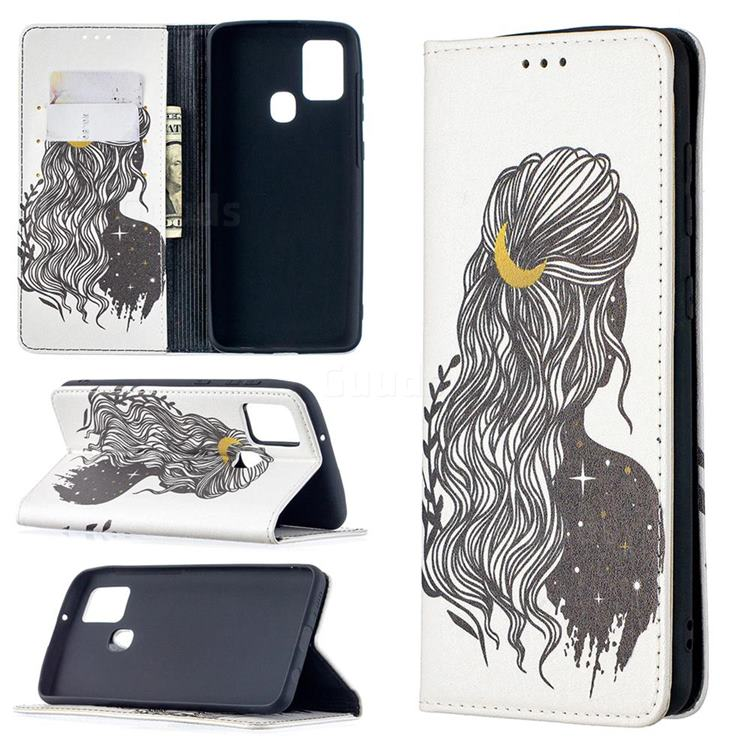 Girl with Long Hair Slim Magnetic Attraction Wallet Flip Cover for Samsung Galaxy A21s