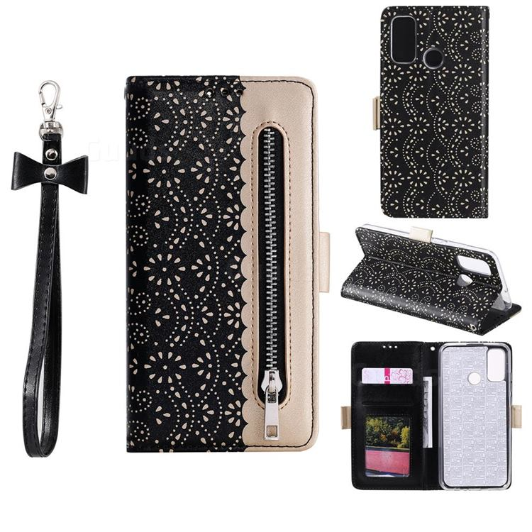 Luxury Lace Zipper Stitching Leather Phone Wallet Case for Samsung Galaxy A21s - Black