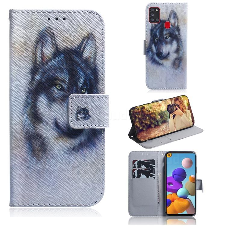 Snow Wolf PU Leather Wallet Case for Samsung Galaxy A21s