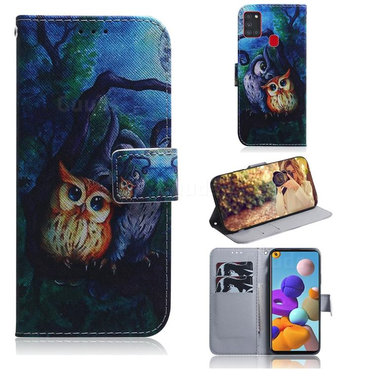 Oil Painting Owl PU Leather Wallet Case for Samsung Galaxy A21s