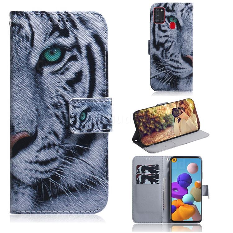 White Tiger PU Leather Wallet Case for Samsung Galaxy A21s