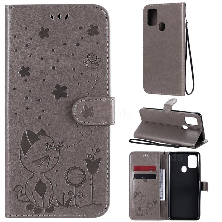 Embossing Bee and Cat Leather Wallet Case for Samsung Galaxy A21s - Gray
