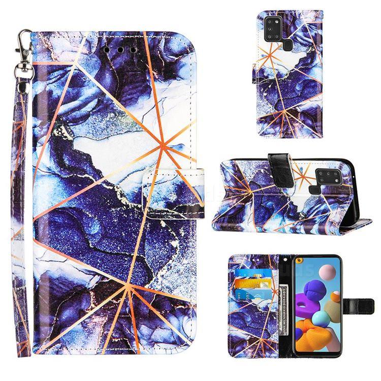 Starry Blue Stitching Color Marble Leather Wallet Case for Samsung Galaxy A21s
