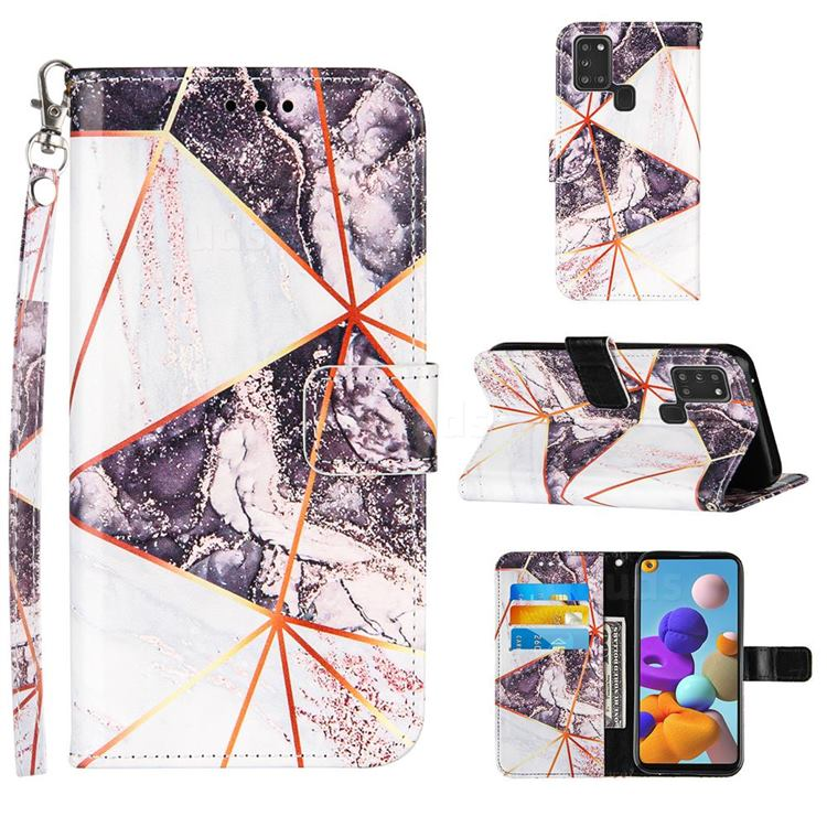 Black and White Stitching Color Marble Leather Wallet Case for Samsung Galaxy A21s
