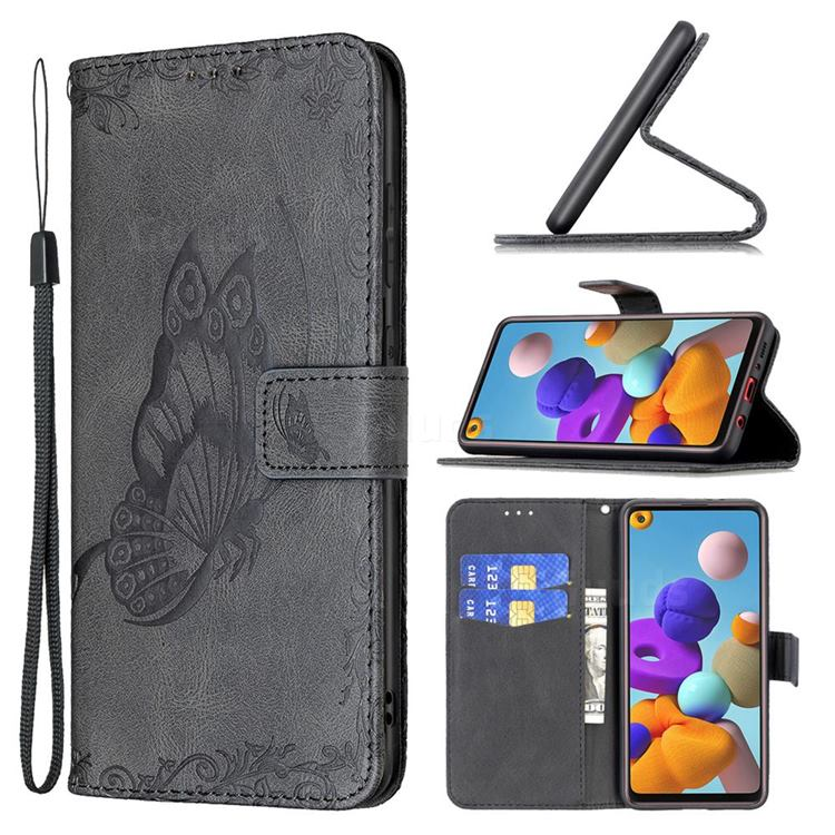 Binfen Color Imprint Vivid Butterfly Leather Wallet Case for Samsung Galaxy A21s - Black