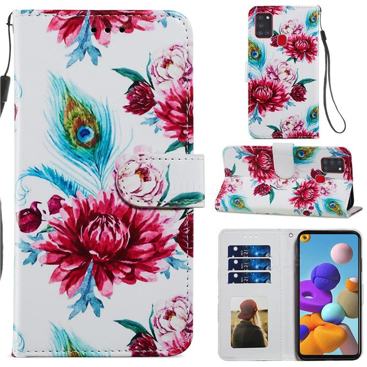 Peacock Flower Smooth Leather Phone Wallet Case for Samsung Galaxy A21s