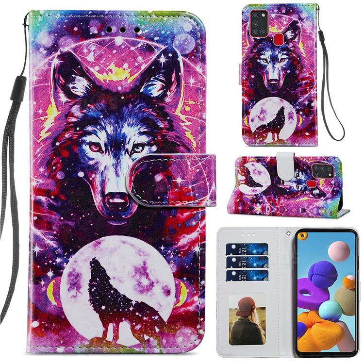Wolf Totem Smooth Leather Phone Wallet Case for Samsung Galaxy A21s