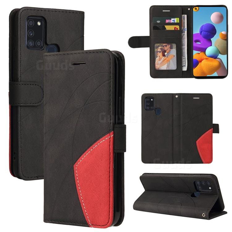 Luxury Two-color Stitching Leather Wallet Case Cover for Samsung Galaxy A21s - Black