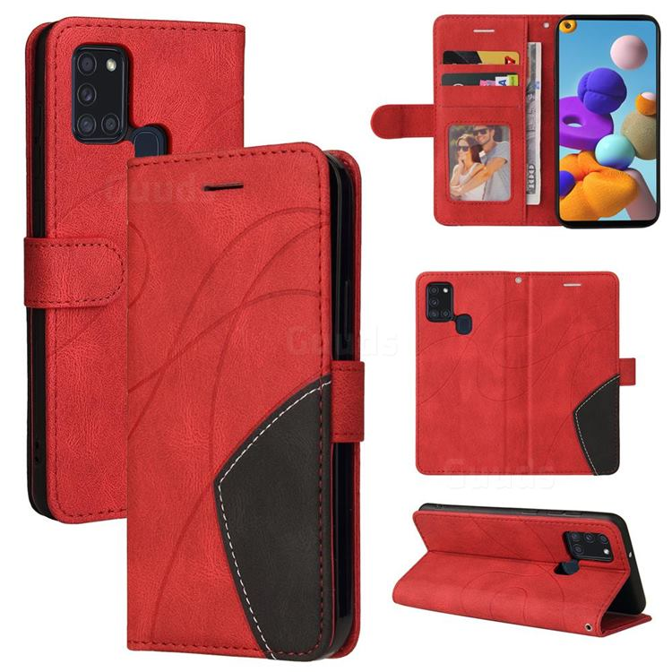 Luxury Two-color Stitching Leather Wallet Case Cover for Samsung Galaxy A21s - Red