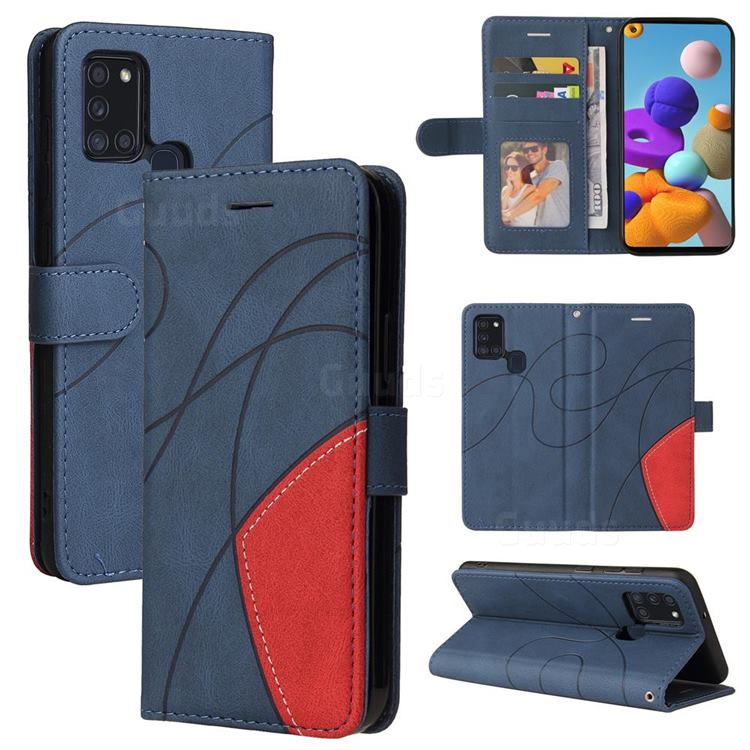 Luxury Two-color Stitching Leather Wallet Case Cover for Samsung Galaxy A21s - Blue