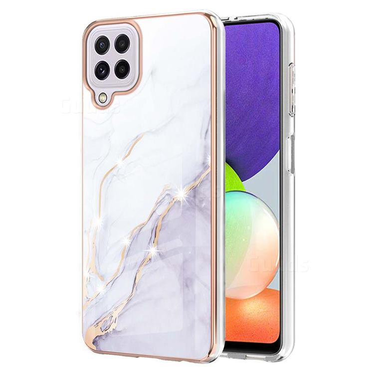 White Dreaming Electroplated Gold Frame 2.0 Thickness Plating Marble IMD Soft Back Cover for Samsung Galaxy A22 4G