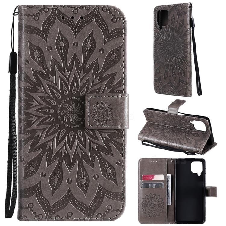 Embossing Sunflower Leather Wallet Case for Samsung Galaxy A22 4G - Gray