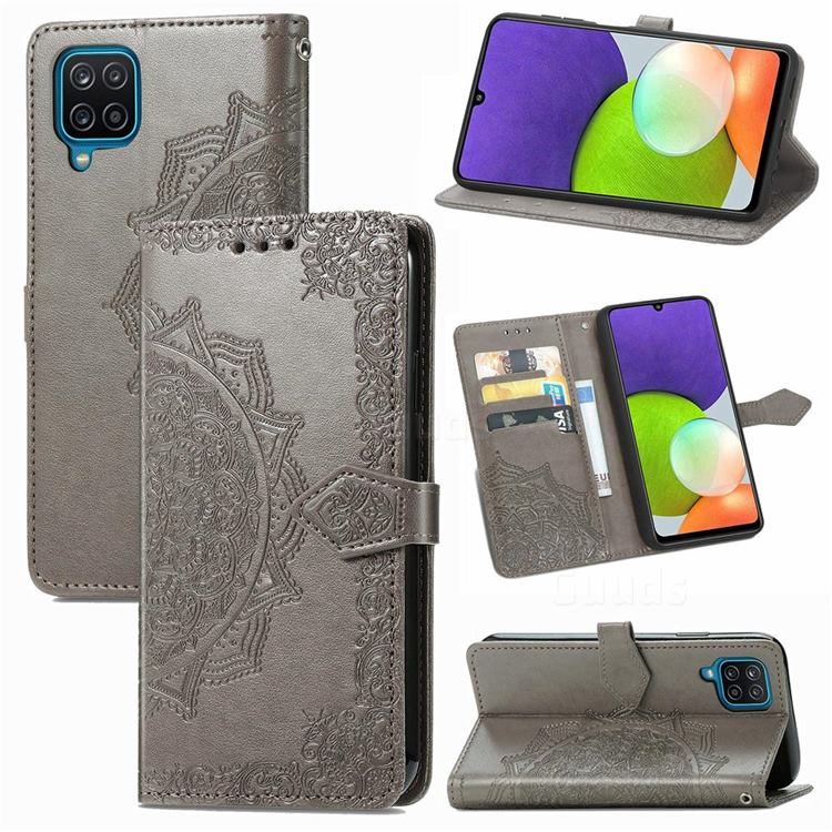 Embossing Imprint Mandala Flower Leather Wallet Case for Samsung Galaxy A22 4G - Gray