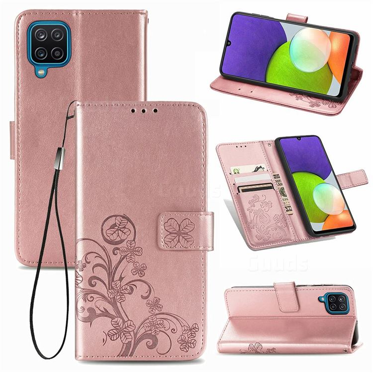 Embossing Imprint Four-Leaf Clover Leather Wallet Case for Samsung Galaxy A22 4G - Rose Gold