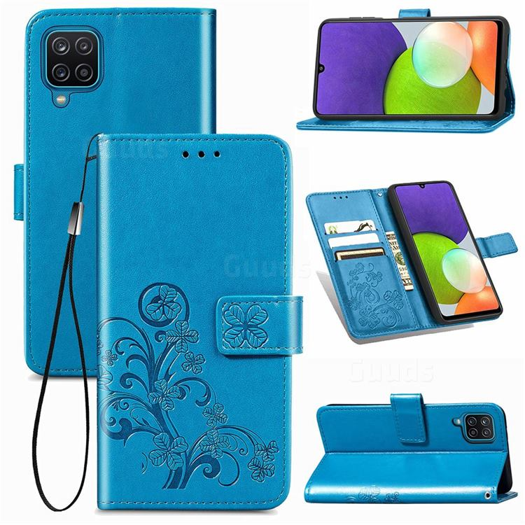 Embossing Imprint Four-Leaf Clover Leather Wallet Case for Samsung Galaxy A22 4G - Blue