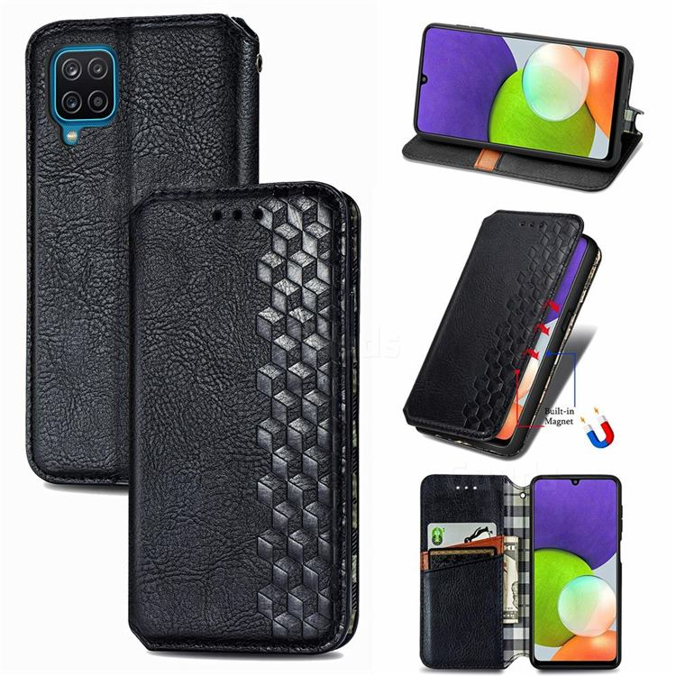 Ultra Slim Fashion Business Card Magnetic Automatic Suction Leather Flip Cover for Samsung Galaxy A22 4G - Black