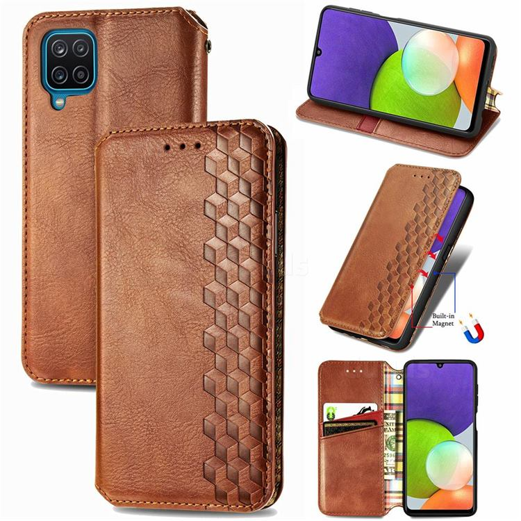 Ultra Slim Fashion Business Card Magnetic Automatic Suction Leather Flip Cover for Samsung Galaxy A22 4G - Brown