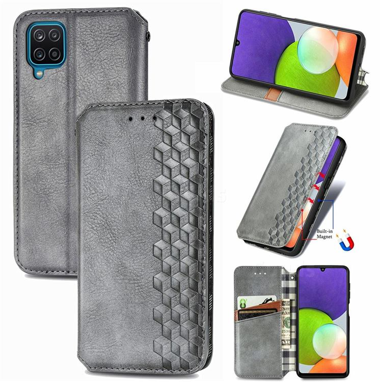 Ultra Slim Fashion Business Card Magnetic Automatic Suction Leather Flip Cover for Samsung Galaxy A22 4G - Grey