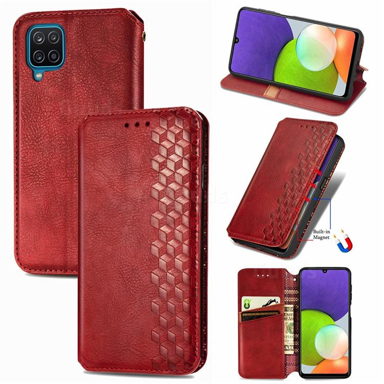 Ultra Slim Fashion Business Card Magnetic Automatic Suction Leather Flip Cover for Samsung Galaxy A22 4G - Red
