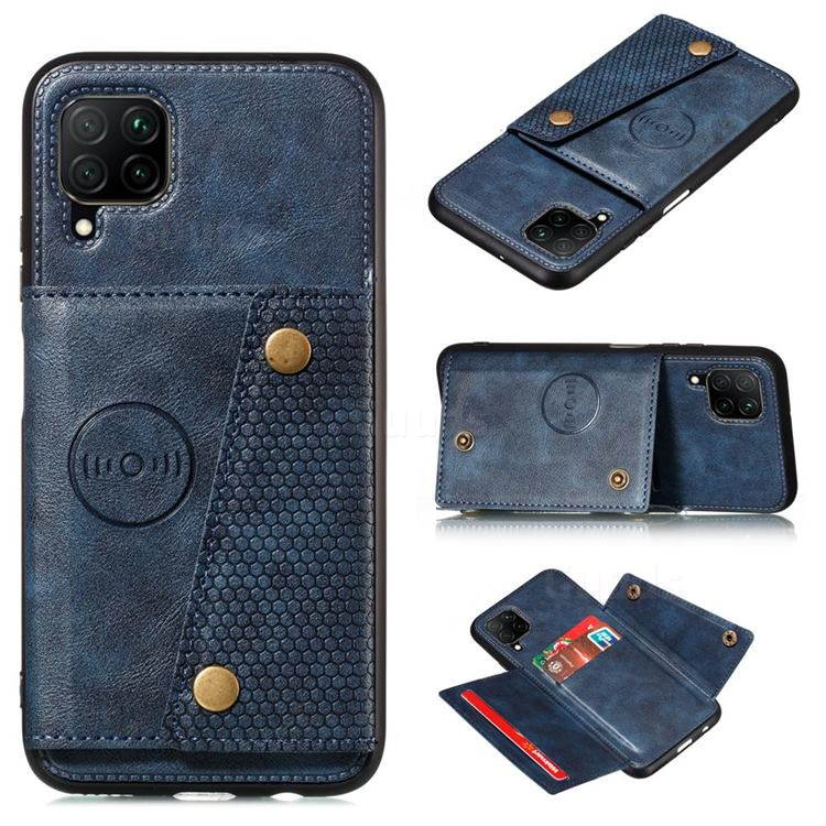 Retro Multifunction Card Slots Stand Leather Coated Phone Back Cover for Samsung Galaxy A22 4G - Blue