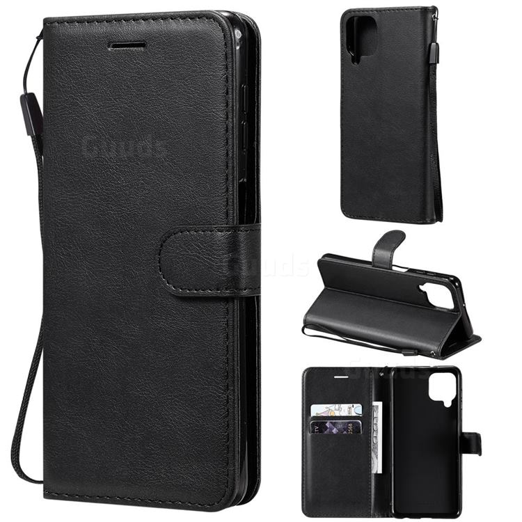 Retro Greek Classic Smooth PU Leather Wallet Phone Case for Samsung Galaxy A22 4G - Black
