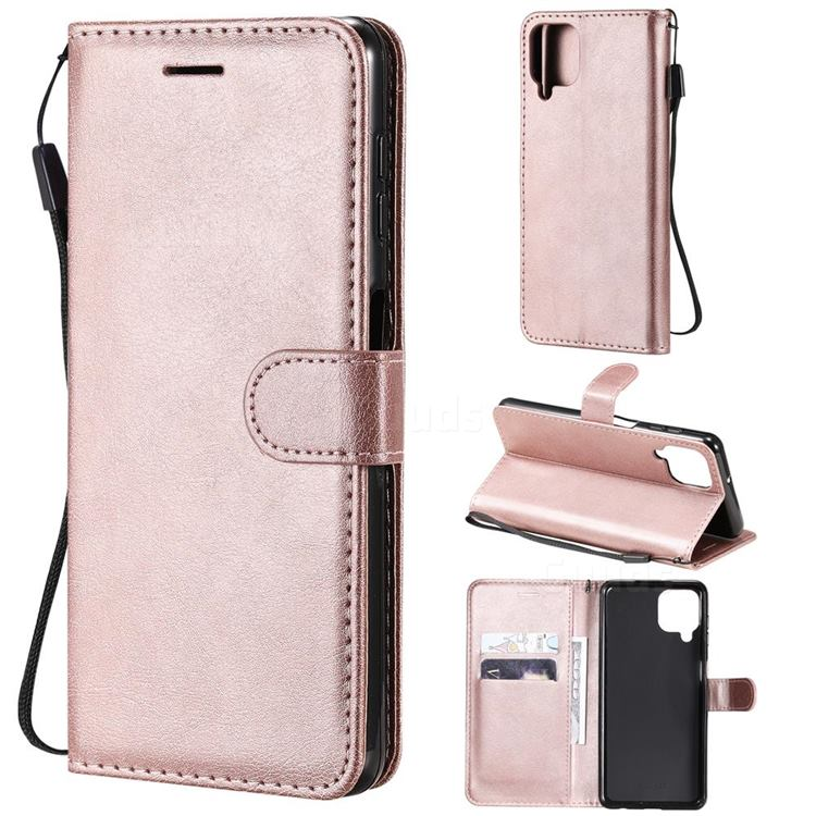 Retro Greek Classic Smooth PU Leather Wallet Phone Case for Samsung Galaxy A22 4G - Rose Gold