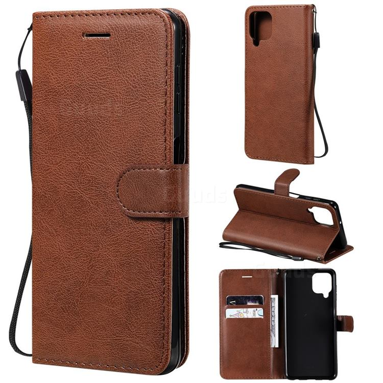 Retro Greek Classic Smooth PU Leather Wallet Phone Case for Samsung Galaxy A22 4G - Brown