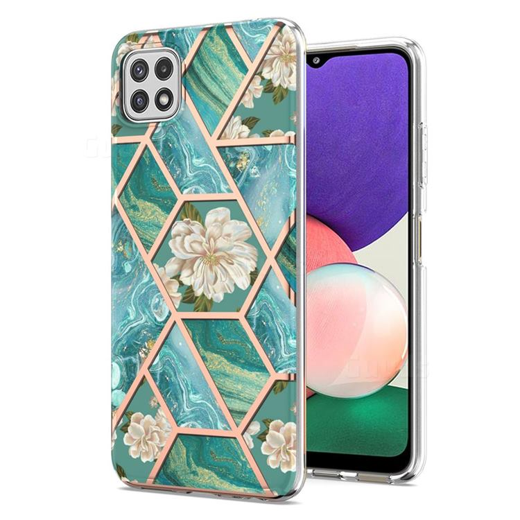 Blue Chrysanthemum Marble Electroplating Protective Case Cover for Samsung Galaxy A22 5G