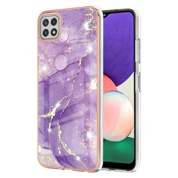 Fashion Purple Electroplated Gold Frame 2.0 Thickness Plating Marble IMD Soft Back Cover for Samsung Galaxy A22 5G