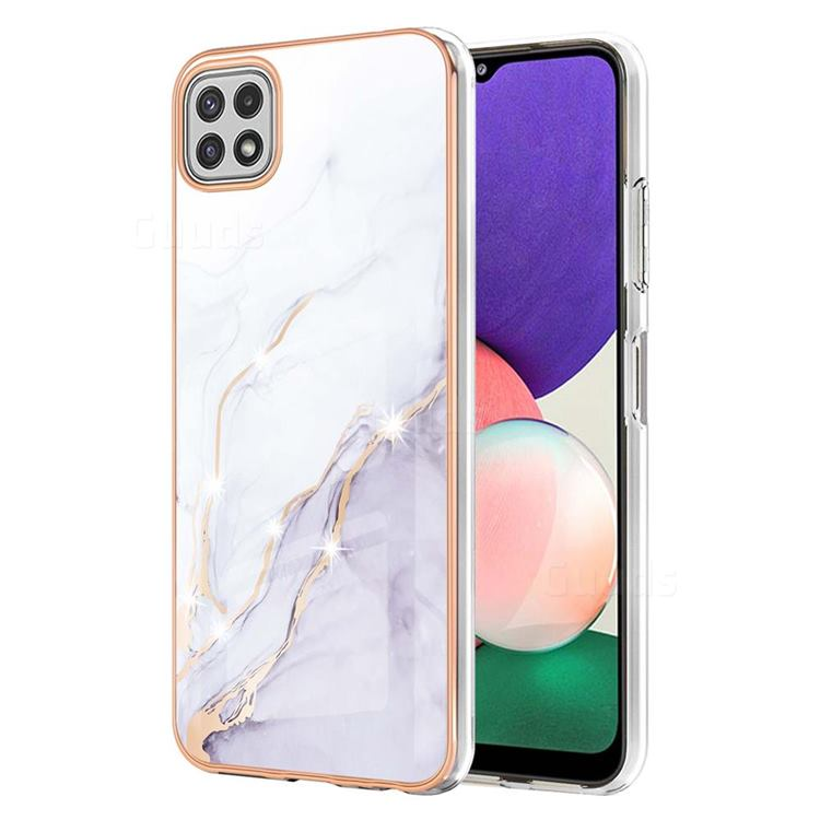 White Dreaming Electroplated Gold Frame 2.0 Thickness Plating Marble IMD Soft Back Cover for Samsung Galaxy A22 5G
