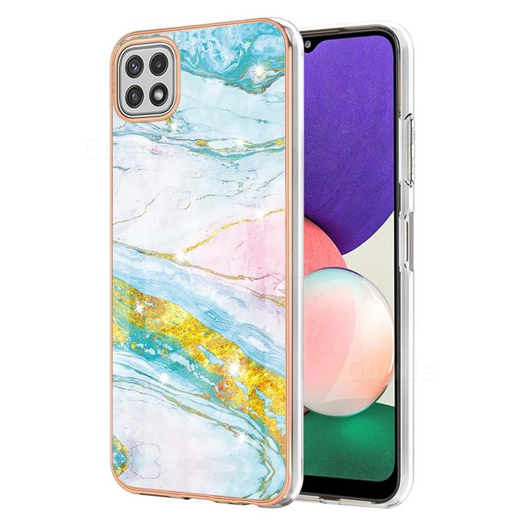 Green Golden Electroplated Gold Frame 2.0 Thickness Plating Marble IMD Soft Back Cover for Samsung Galaxy A22 5G